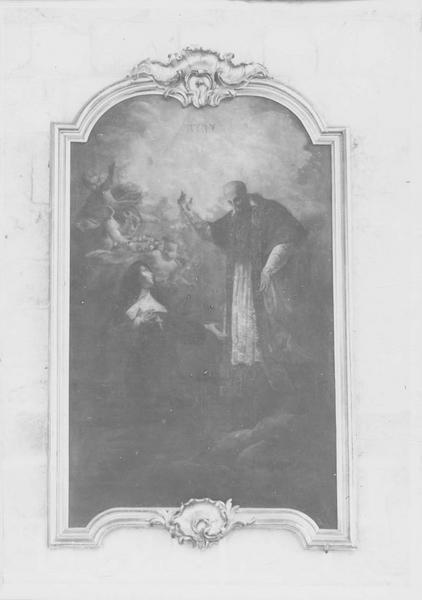 Tableau et cadre : Saint François de Sales et sainte Jeanne de Chantal