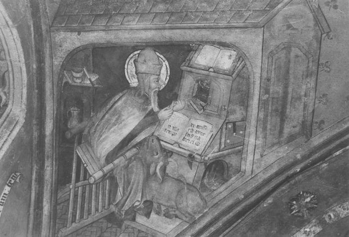 peintures monumentales, détail de la voûte du choeur: saint Luc