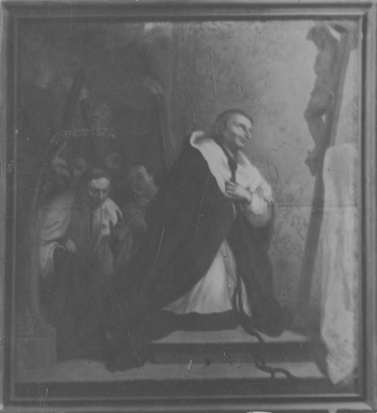 Tableau : Personnage (saint Bruno ou saint Charles Borromée ?) à genoux devant un crucifix