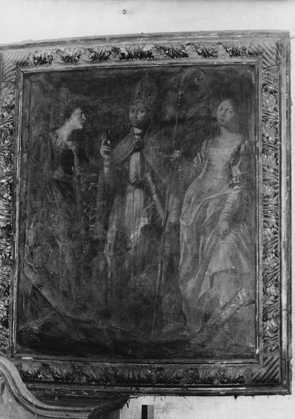 Tableau : évêque entre deux saints