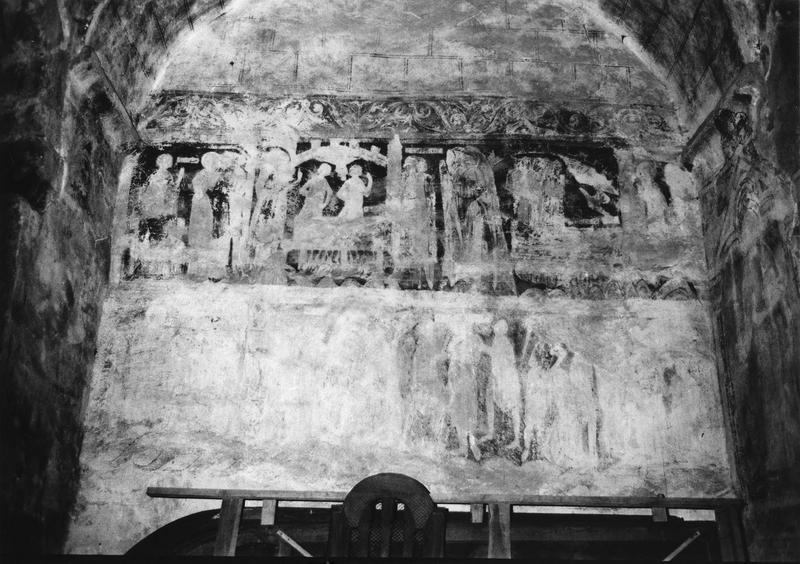 décor peint (mur septentrional) : saint Donatien et saint Rogatien confessant leur foi, le martyre de saint Laurent, scènes de la vie de sainte Foy