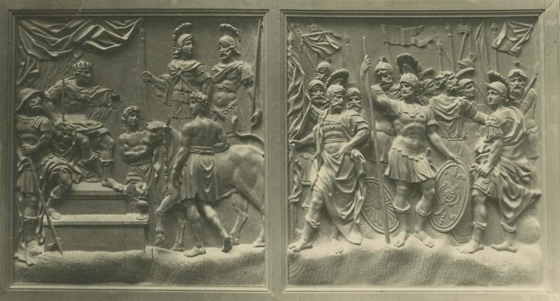 Bas-relief : saint Maurice et saint Victor refusant de sacrifier aux idoles, le Jugement de saint Maurice et de la légion thébaine (décor de la chapelle Saint-Maurice du refuge)