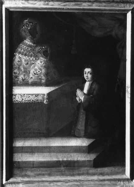 tableau votif : jeune homme agenouillé
