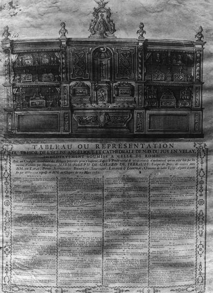 estampe : tableau ou représentation du trésor de l'église Angélique et de cathédrale de Notre-Dame du Puy-en-Velay