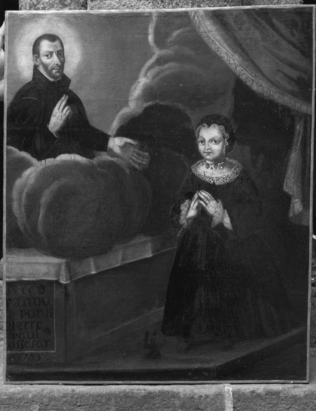tableau votif : petite fille devant saint François Régis