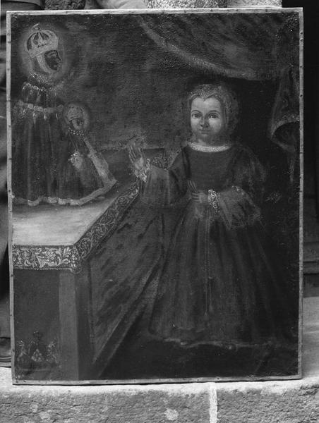 Tableau votif : petite fille devant la Vierge noire du Puy
