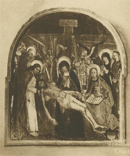 tableau : Vierge de pitié entourée d'anges et de saints