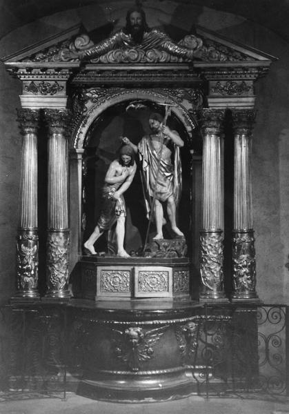 Fonts baptismaux, groupe sculpté du Baptême du Christ