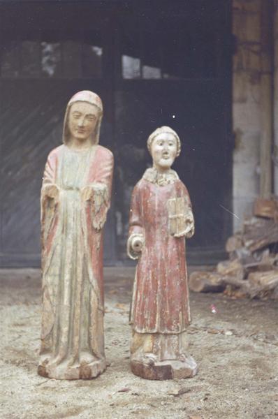 Deux statuettes : sainte Blismonde et un saint moine