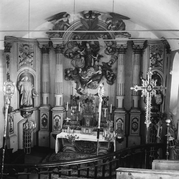 autel, retable : vue d'ensemble de l'autel de la Vierge