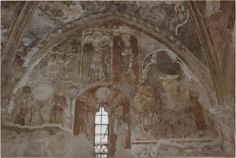 décor peint de la chapelle absidiale : Vie de la Vierge (la).