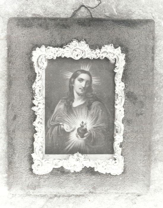 stampe et son cadre : Christ du Sacré-Coeur