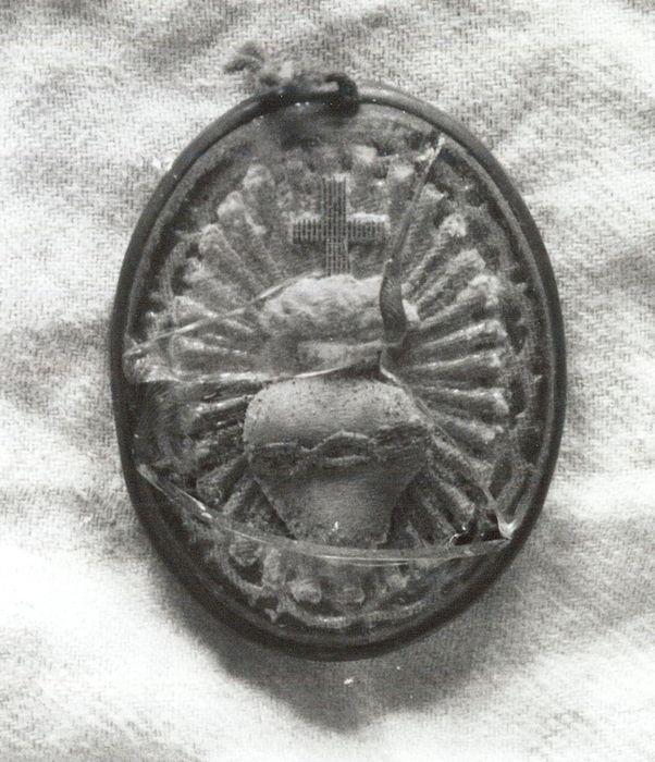 objet de dévotion encadré : Coeur Sacré de Jésus