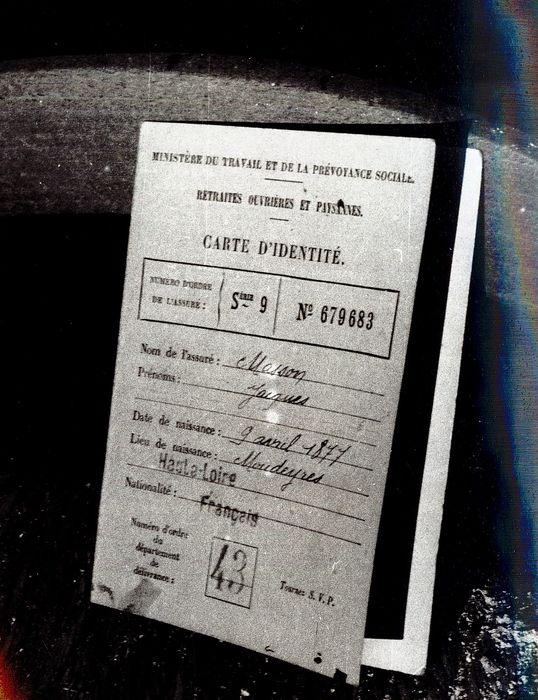 document imprimé : Carte d'identité de Jacques Masson
