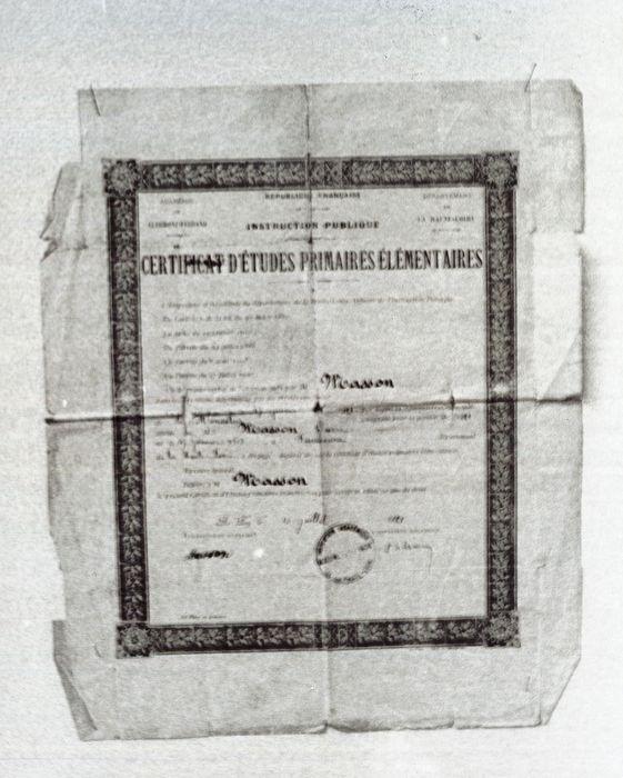document imprimé : Certificat d'Etudes Primaires Elémentaires de Pierre Masson