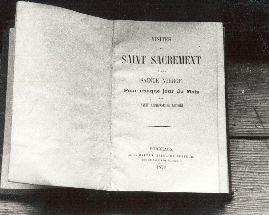 livre : Visites au Saint Sacrement et à la Sainte Vierge