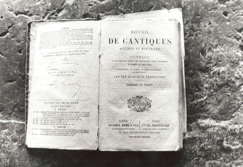 livre : Recueil de cantiques anciens et nouveaux