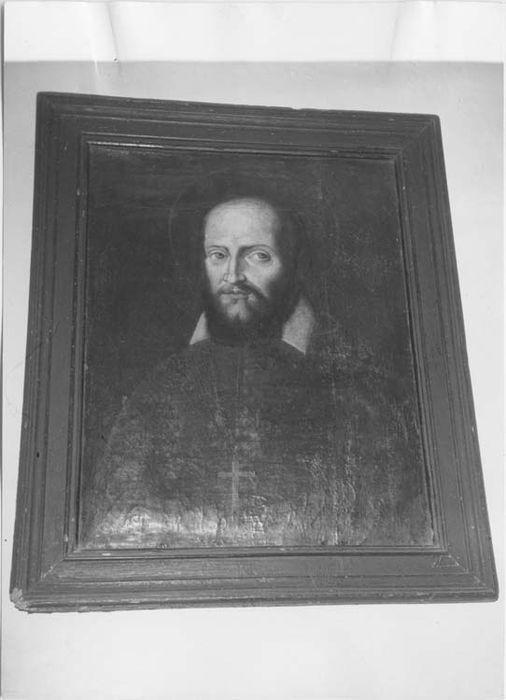 Tableau et son cadre : Portrait d'un abbé