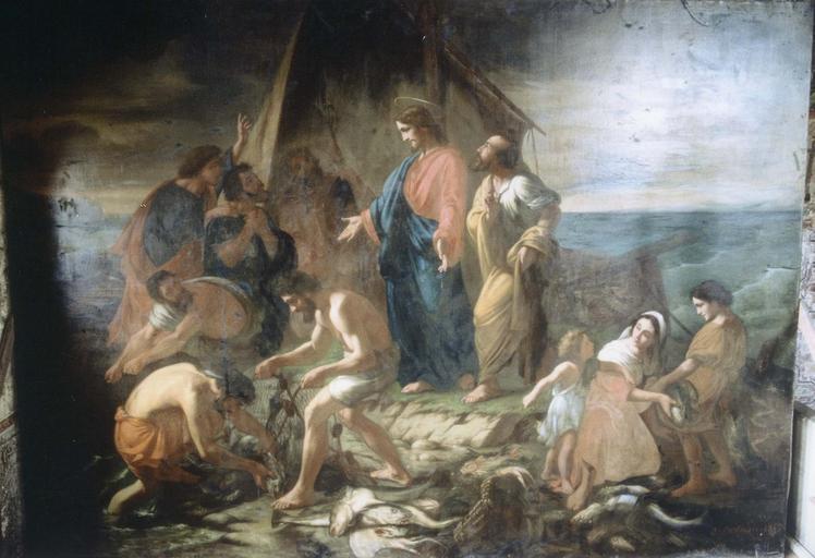 Tableau : la Pêche miraculeuse, huile sur toile, 19e siècle