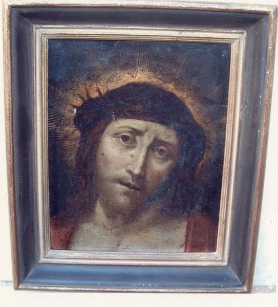 Tableau, cadre : tête du Christ couronné d'épines, vue générale
