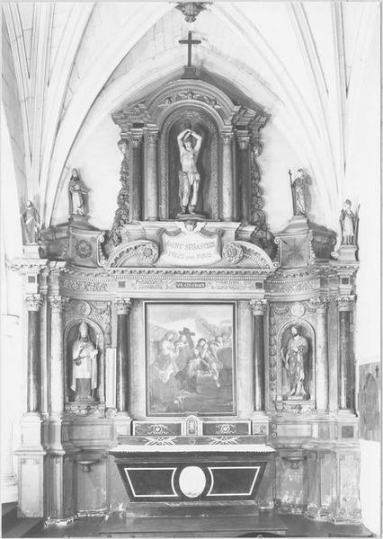 Autel, gradins, retable du bas-côté sud, tableau : l'Agonie du Christ