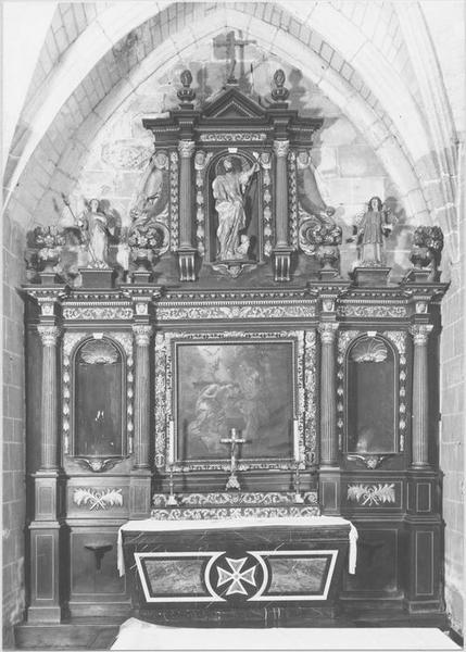 Retable, tableau, statues, gradins (de saint Jean-Baptiste) : le Baptême du Christ