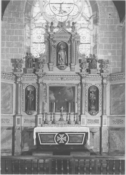 retable, tableau, statues (autel de saint François d'Assise) : saint François d'Assise recevant les stigmates