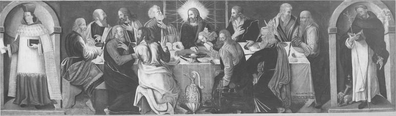 tableau : la Cène entre saint Yves et saint Dominique