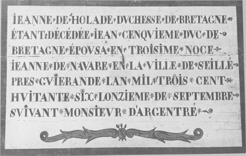 Tableau : le Mariage de Jean V duc de Bretagne avec Jeanne de Navarre (inscription commémorative)