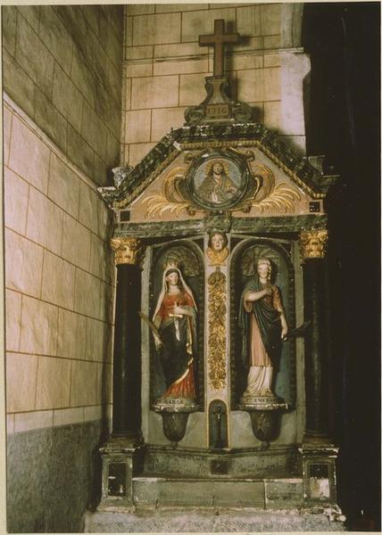 Retable, 2 statues : sainte Barbe, saint Emérance
