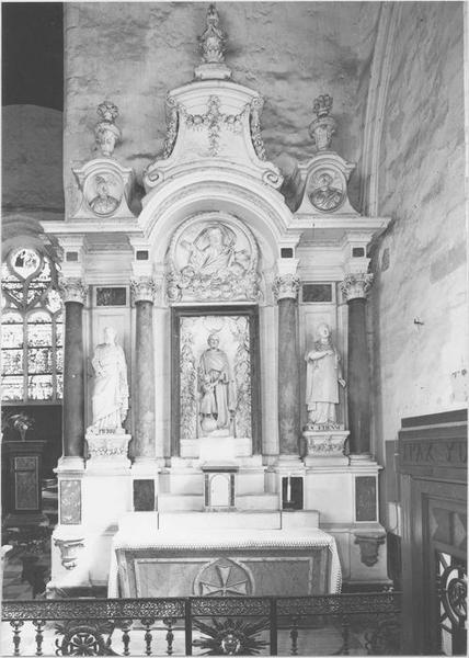 Retable, groupe sculpté, 2 statues : saint Joseph et l'Enfant Jésus, saint Pierre, saint Etienne
