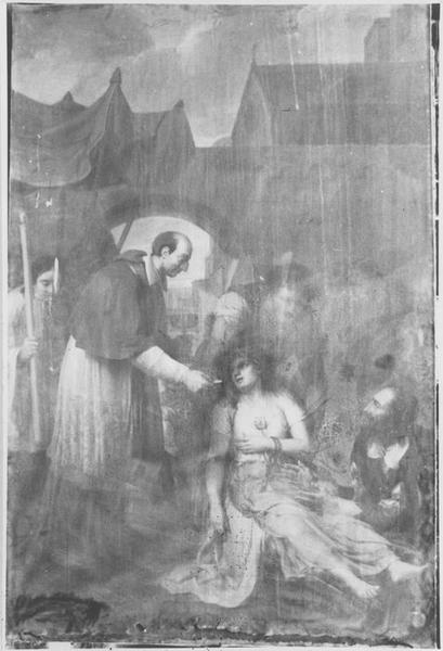 Tableau : saint Charles Borromée guérissant un malade