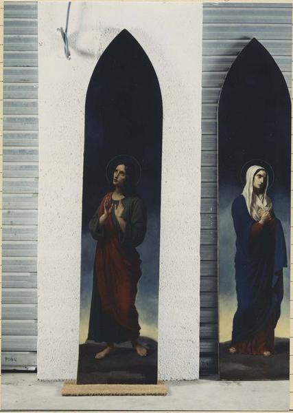 2 tableaux : Vierge au calvaire, saint Jean l'Evangéliste