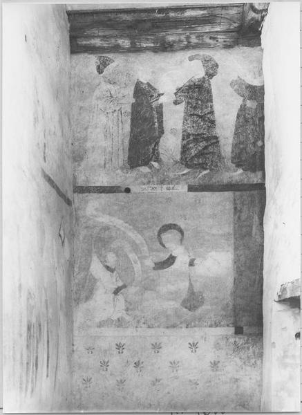 Peinture monumentale : scènes historiées (deuxième trahison de Juda (?); Annonciation)