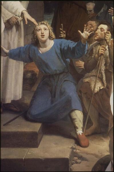 Tableau : saint Clair guérissant l'aveugle, détail