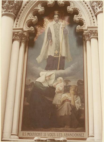 tableau : saint Vincent de Paul et une religieuse faisant la charité