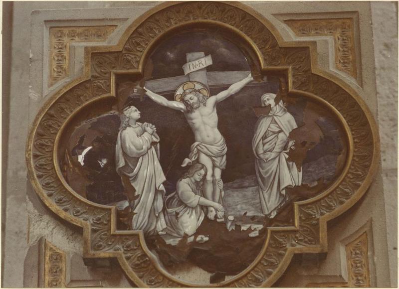 Chemin de croix: la Vierge, saint Jean et Marie-Madeleine au pied de la croix