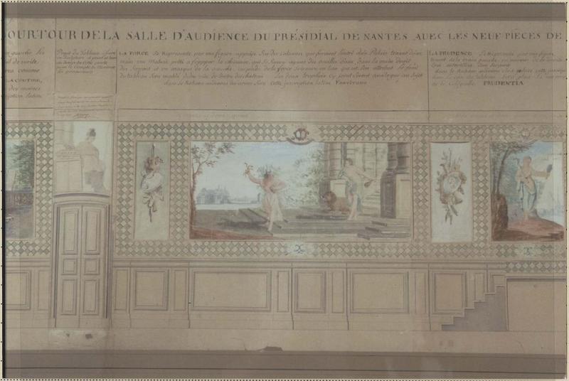 maquette du décor de la salle d'audience du présidial (élévation)