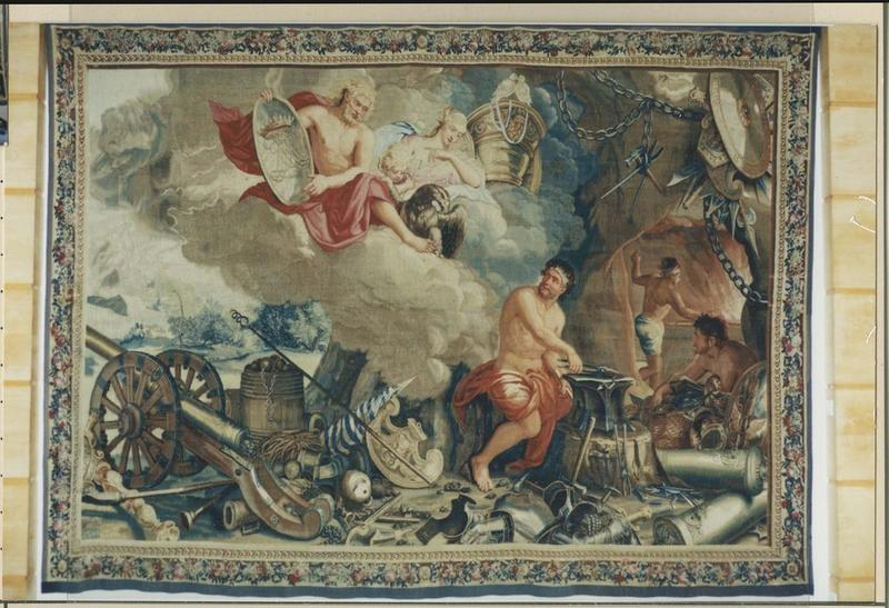 Pièce murale (tapisserie à bordure) : Feu (Le)