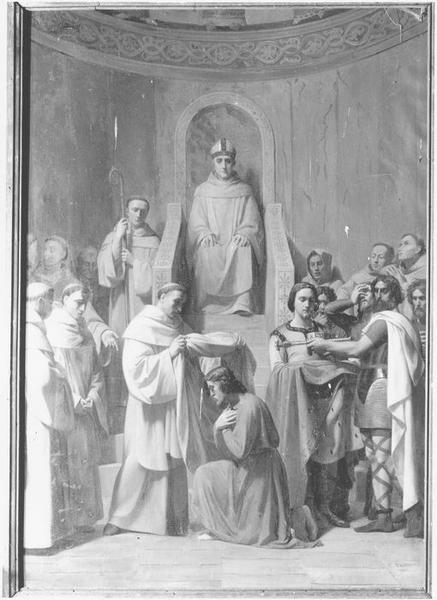 Tableau : saint Judicaël prend l'habit religieux