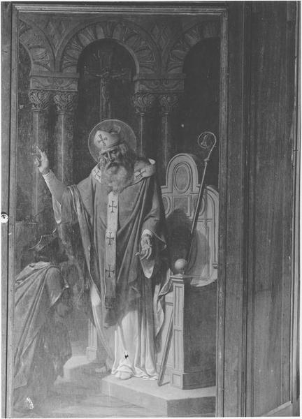 Tableau : saint Brieuc évêque convertit au christianisme un riche seigneur de l'Armorique