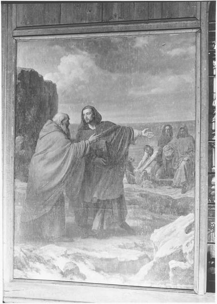 Tableau : saint Malo est reçu par l'ermite Aaron