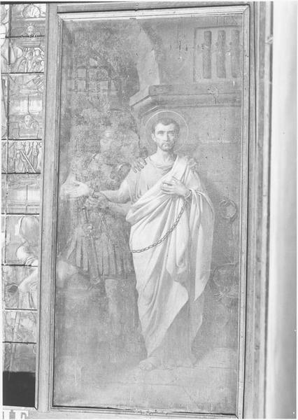 Tableau : saint Rogatien ayant confessé qu'il était chrétien est conduit en prison et chargé de fers