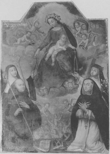 tableau : la Vierge du Rosaire, retable du croisillon Nord du transept