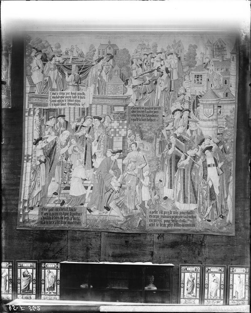 Pièce murale de la tenture de la vie de saint Remy : Transaction du corps de saint Remy, avec un donateur (La)