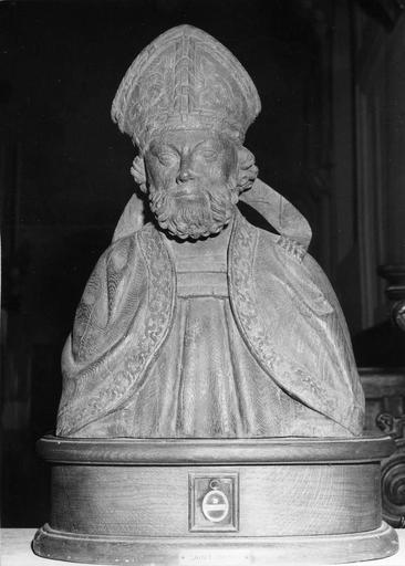 Buste-reliquaire de saint Denis, bois sculpté, 18e siècle