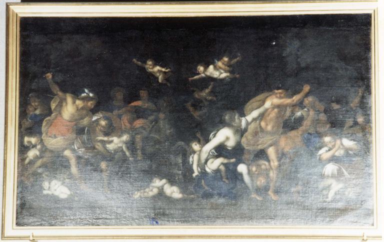 Tableau : Le Massacre des saints Innocents, huile sur toile, copie d'après Carrache, 17e siecle