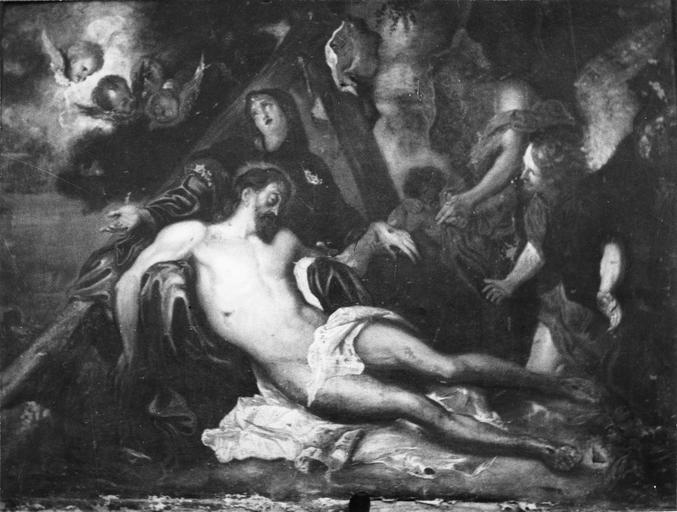 Tableau : La Déposition de croix, huile sur toile d'après Van Dyck, 17e siècle