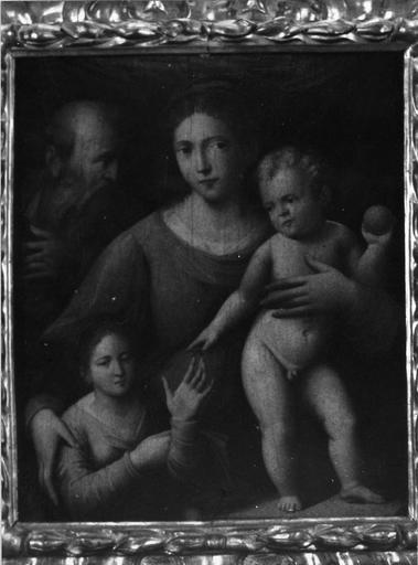 Tableau : Le Mariage mystique de sainte Catherine, panneau peint attribué à Raphaël, cadre en bois sculpté et doré, début du 16e siècle, avant restauration