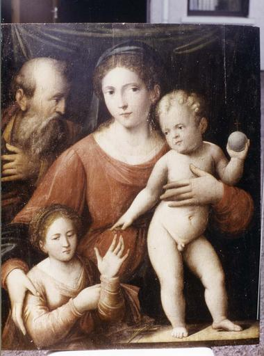 Tableau : Le Mariage mystique de sainte Catherine, panneau peint attribué à Raphaël, début du 16e siècle, vue d'ensemble, en cours de restauration